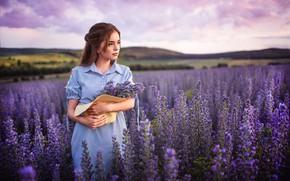 Picture field, summer, girl, flowers, nature, hills, hat, dress, brown hair, meadows, Sergey Shatskov