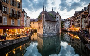Picture France, the evening, Alps, channel, Annecy