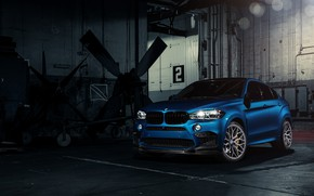 Wallpaper BMW, Blue, X6M, Vossen, Sight, F86