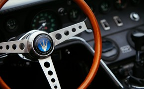 Picture black, Maserati, devices, 1969, Roadster, spider, steering wheel, Ghibli Spider