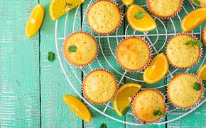 Picture lemon, orange, dessert, cakes, slices, cupcakes
