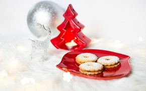 Picture white, background, holiday, toys, Shine, new year, Christmas, candle, ball, deer, cookies, tree, herringbone, saucer, …