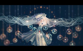 Picture girl, stars, balls, flowers, fantasy