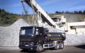Picture Renault, body, quarry, dump truck, triaxial, Renault Trucks, C-series, crushing rocks