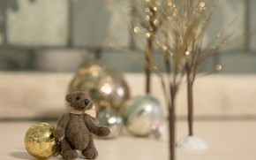 Picture balls, decoration, trees, branches, childhood, background, toy, Shine, new year, Christmas, bear, bear, bear, plush, …
