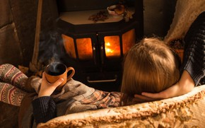 Picture girl, heat, fireplace, plaid, cozy, socks, hot drink