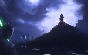 Picture Night, Star Wars, Rain, Sword, Knights, Lightsaber, Art, Sith, Jedi, Sith, Jedi, Lord, the Sith …