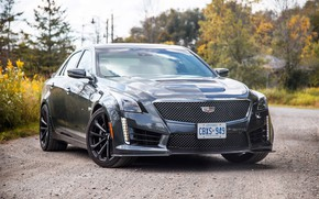 Picture road, car, machine, forest, Cadillac, black, sedan, black, front, rooms, wheel, Ontario, sports car, aggressive, …