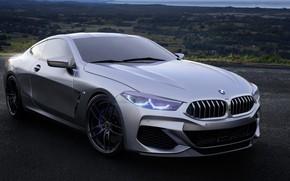 Picture Auto, BMW, Machine, Grey, Rendering, 8-Series, M850i, by Mikhail Nikolaev, Mikhail Nikolaev, BMW 8-Series M850i, …