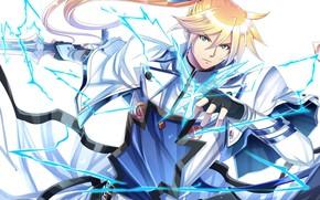 Picture lightning, anime, art, Sword, guy, knight, blonde