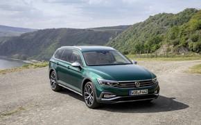 Picture mountains, Volkswagen, universal, Passat, dark green, Alltrack, 2019
