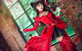 Wallpaper chest, look, girl, flowers, red, face, pose, green, style, background, hair, stockings, hands, petals, brunette, ...