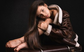 Picture look, pose, jacket, girl, suitcase, long hair, the dark background, Elina Garipova