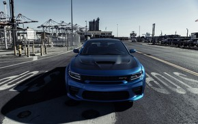 Picture Auto, Blue, Machine, Dodge, Car, Car, Render, Dodge Charger, Hellcat, Rendering, SRT, The front, Sports …