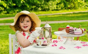 Picture table, child, girl, Panama, cottage, tea ceremony