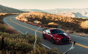 Picture road, machine, mountains, nature, style, markup, hills, lights, Ford, sports, sports car, Ford Mustang Shelby …