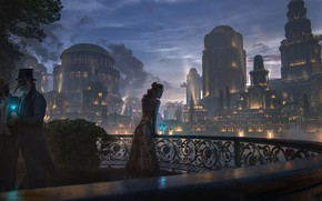 Picture girl, night, the city, people, balcony, masquerade