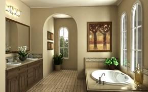 Picture interior, bathroom, komnata