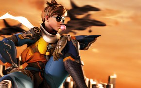 Picture girl, the plane, rendering, glasses, costume, bubble, gum, Overwatch, Tracer, overwatch, lena oxton
