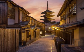 Picture street, spring, morning, Japan, Kyoto