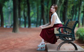 Picture Park, bench, girl, cutie, Asian
