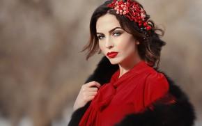 Picture look, girl, face, style, photo, model, makeup, fur, beauty, Anastasia Grosheva