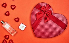 Picture orange, background, gifts, hearts, red, bow, Valentine's day, ribbon, perfume