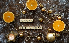 Picture winter, balls, snow, letters, holiday, the inscription, cubes, toys, Board, candle, oranges, Christmas, New year, …