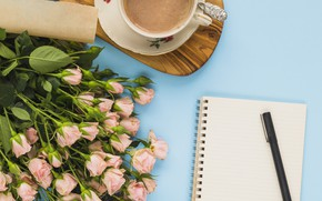 Picture coffee, bouquet, Notepad