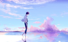 Picture the sky, nature, anime, art, guy, lluluchwan