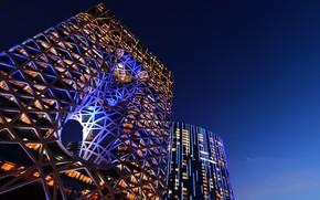 Picture Night, Backlight, Line, Architecture, Skyscraper, Macau, Morpheus Hotel, Gothel