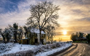 Picture road, sunset, tree, the evening, old house, Northern Ireland