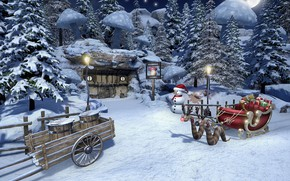 Picture forest, snowman, sleigh, cart, Christmas in Mushroom Land