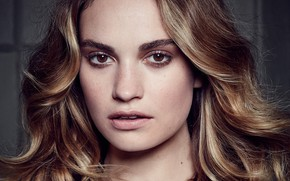Picture look, girl, portrait, makeup, Lily James