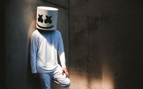 Picture wall, people, mask, DJ, marshmallow, Marshmello