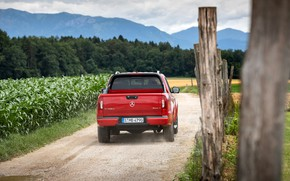 Picture red, the fence, Mercedes-Benz, back, pickup, 2018, X-Class