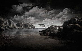 Picture sea, the sky, clouds, landscape, birds, clouds, nature, stones, rendering, tree, rocks, boats, monochrome, pond, …