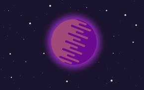 Picture dark, space, star, minimalism, blue, pink, art, stars, planet, purple, gray, illustration, orbit, orbital, stars …