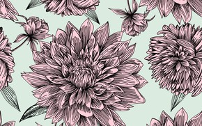 Picture flowers, retro, background, texture