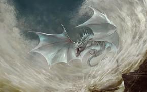 Picture Dragon, White, Wings, Fantasy, Dragon, Art, Art, Fiction, Illustration, Shinon, Creatures, Godfrey Escota, by Godfrey …