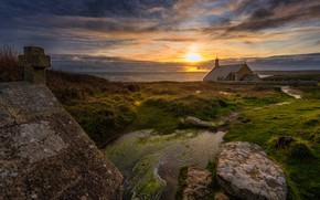 Picture roof, sea, the sky, grass, the sun, clouds, light, sunset, stream, stones, shore, coast, France, …