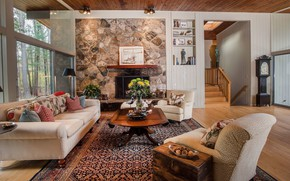 Picture design, style, interior, fireplace, living room, Own an Iconic Midcentury in New Canaan