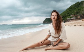 Picture sand, beach, look, girl, pose, the ocean, feet, hair, Eugene Angels, ANGELOV