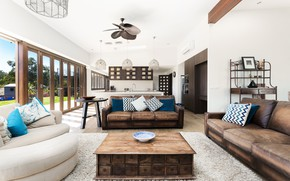 Picture design, table, sofa, Windows, living room