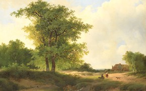 Picture oil, picture, 1890, John Warnardus Images, Johannes Bilders Barnardos, Landscape with peasant house