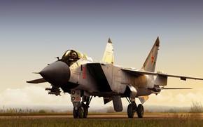Wallpaper Fighter, by ABiator, Air force Kazakhstan, Alexander Iartsev, Art, MiG-31B, The MiG-31, Foxhound, Interceptor, MiG-31, ...