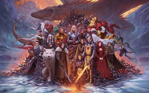 Picture Dragon, Wolf, Fantasy, Dragon, Ghost, A song of Ice and Fire, Game of Thrones, Game …
