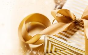 Picture background, gold, holiday, gift, tape, New year, New Year, Xmas, Box, Valeria Maksakova