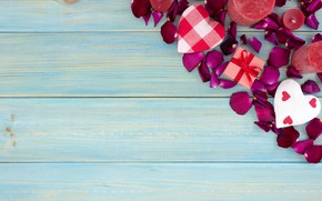 Picture gift, roses, petals, hearts, red, red, love, wood, flowers, romantic, hearts, valentine's day, petals, roses, …