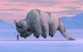 Picture fantasy, Avatar, horns, winter, snow, artwork, fantasy art, creature, Avatar: The Last Airbender, Aang, TV …